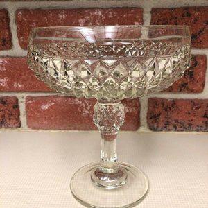 Indiana Glass Diamond Point Pattern Compote Dish